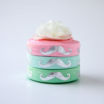 """5/8""""  Fold Over Elastic with Silver Foil Metallic Mustache Print - Pastel Pack - Webbing Ribbon Trim - Choose Yardage Pack"""