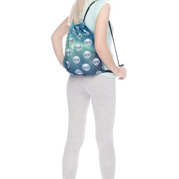 Emoji Space Alien Green Drawstring Bag Backpack