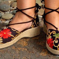 Embroidered Black Floral Espadrille Ankle by SiameseDreamDesign