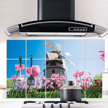 Windmill Pink Flower Kitchen Wall Decal Sticker Kitchen Exhaust Grease Oil Proof