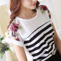 Printed Striped Ladies Blouse