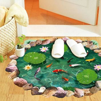 Super Deal wall stickers home decor Fish Ponds Mural Ground Stickers Decal Room Home Decor XT