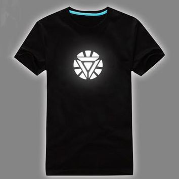Light t-shirt Superman t shirt iron man shirt men glow in dark fluorescent shirt luminous  in night