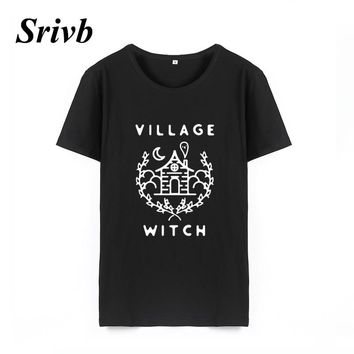 Srivb Village Witch The New Cotton Graphic Tee Women Harajuku 2018 Summer Hip Hop Cartoon Tshirt Women Tumblr Funny Women Tshirt