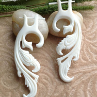 "Stick Post Earrings, ""Angelica"" Naturally Organic, Bone, Hand Carved, Tribal"