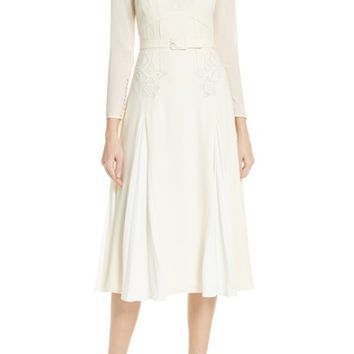 Self-Portrait Embroidered Belted Midi Dress | Nordstrom