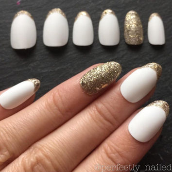 Matte White with Gold Glitter Handpainted False Nails • Fake Nails • Press on Nails • Stick on Nails