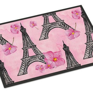 Watercolor Pink Flowers and Eiffel Tower Indoor or Outdoor Mat 24x36 BB7511JMAT