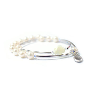 Pearl bracelets, Rosary bracelet, mother-of-pearl Cross, God mother, Silver plated bar, Swarovski Crystal accessory