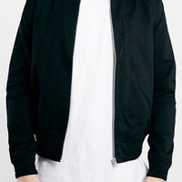 Men's Topman Black Cotton Bomber Jacket