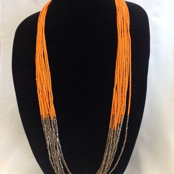 Beads Orange Long Necklace