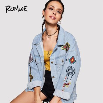 Trendy ROMWE Cartoon Embroidered Denim Jacket Regular Blue Cute Jacket 2018 Autumn Embroidery Single Breasted Casual Jacket AT_94_13