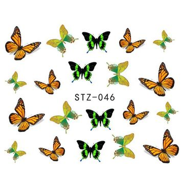 1 Sheets Fashion Beauty 3d Designs Colorful Bow Butterfly Ties Nail Art Stickers Nail Decals DIY Stencils Styling Tools STZ046