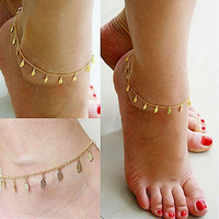 Fashion Gold Chain Anklet Leaf Type Bracelet Foot Ankle Women Lady Jewelry Elegant (Size: 25 cm, Color: Golden) = 5987602753