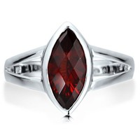 Sterling Silver 925 Marquise Natural Garnet Gemstone Solitaire Ring #r456