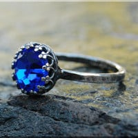 September Birthstone Ring, Swarovski Cocktail Ring, Crown Bezel Set Ring, Sapphire Statement Ring, Sterling Swarovski Birthstone Ring