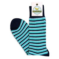 Triple Stripe Sporting Socks in Navy and Turquoise by Bird Dog Bay - FINAL SALE
