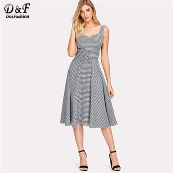 Dotfashion Lace Up Corset Gingham Dress 2018 Summer A Line Plaid Cami Dress Ladies Spaghetti Strap Sleeveless Flared Dress