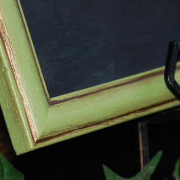 Rustic chic chalkboard: Vintage apple green large 11x14 hand-painted wooden framed kitchen menu message board