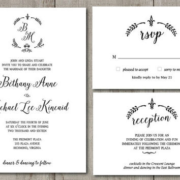 Printable Classic Wreath Wedding Invitation, Black and White Wreath Wedding Set, Boho Chic