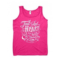 SALE Cherished Girl Trust in the Lord With All Your Heart Girlie Christian Bright Shirt Tank Top