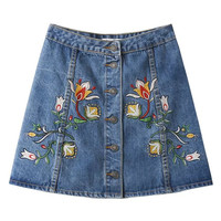 Blue High Waist Embroidery Floral A-line Denim Skirt