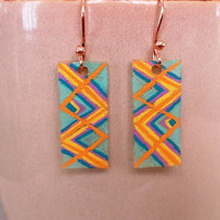 Muted Yellow Plaid Shrinky Dink Plastic Earrings