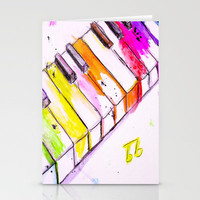 Watercolor Piano Keys Stationery Cards by Trinity Bennett