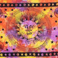 Sun Moon Celestial Orange Psychedelic Wall Bed Table Twin Tapestry