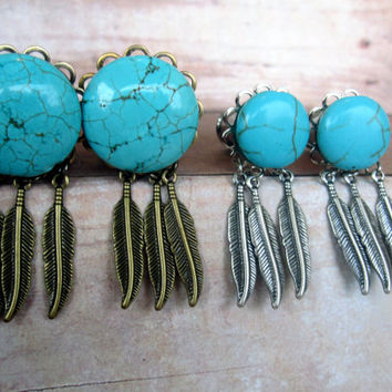 """Pair of Turquoise and Feathers Plugs - Antique Brass or Silver - Handmade Gauges - 8g, 6g, 4g, 2g, 0g, 00g, 7/16"""", 1/2"""", 9/16"""", 5/8"""", 3/4"""""""