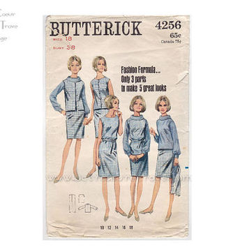 Vintage 1960s Dress Pattern Butterick 4256 Sewing Patterns Bust 38 Blouse Vest Jumper