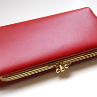 Vintage Red Leather Clutch, 1960's Baronet Wallet Purse
