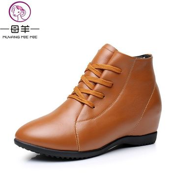 Plus Size 33-43 Winter Women Shoes Woman Genuine Leather Wedges Ankle Boots Casual Hei