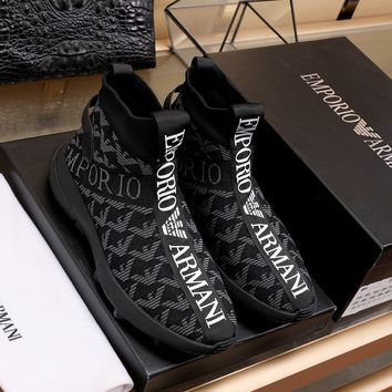 Armani  Men Fashion Boots fashionable Casual leather Breathable Sneakers Running Shoes