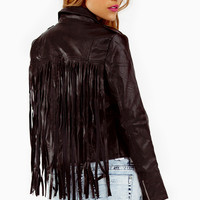 Reverse Leather Fringe Back Jacket $82