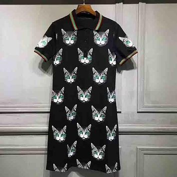 GUCCI Fashion New Style Women Casual Cat Head Print Short Sleeve Polo Dress Navy Blue I-G-JGYF