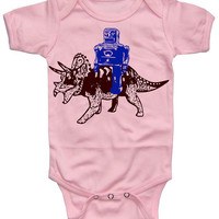 Robot on a Triceratops Dinosaur Baby Girl Bodysuit by happyfamily