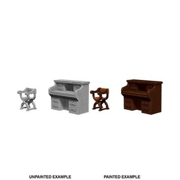 WizKids Deep Cuts Unpainted Miniatures: Wave 5- Desk & Chair