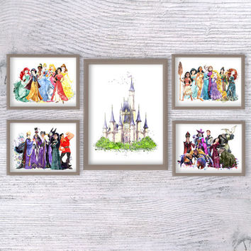 Disney princess poster Set of 5 Disney watercolor print Disney villains decor Kids room wall art Baby shower gift Girls room decoration V338