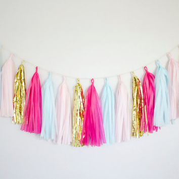Pink Mint Blue and Gold Tassel Garland Banner  - Party Decor, Wedding Decor, Birthday Party, Photo Backdrop, Baby Shower