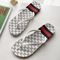 GUCCI Fashion New More Letter Flip Flops Slippers Women Shoes White