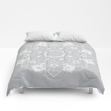 mandala in blue Comforters by anipani