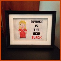 Orange is the New Black Cross Stitch Framed by K8BitHero on Etsy