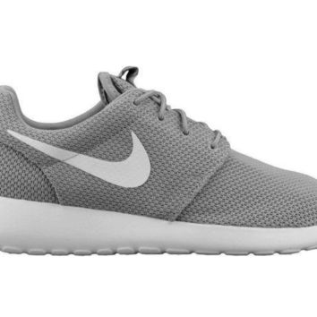 PEAPON Nike Roshe One Mens 511881-023 Wolf Grey White Mesh Running Shoes Size 9
