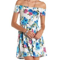 Floral Print Off-the-Shoulder Skater Dress - Lt Blue Combo