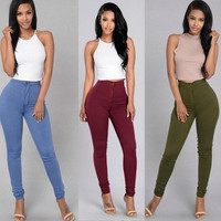 Sexy Women Solid Bandage Bodycon Pants High Waist Stretch Pencil Pants Sexy Casual Trousers 2016 High Quality Hot Sale