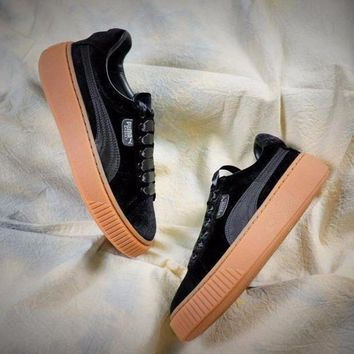 LMFUX5 Puma Suede Classic Basket Shoes With Black Silk Laces