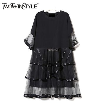 [TWOTWINSYLE]Women A-Line Dress Round Neck Short Flare Sleeves Long T-Shirt Patchwork Cascading Ruffle Mesh Dresses Sweet Summer