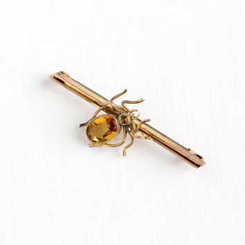 Antique Victorian Yellow Gold Filled Spider Brooch - Vintage 1900s Simulated Citrine Yellow Glass Statement Figural Arachnid Bar Pin Jewelry