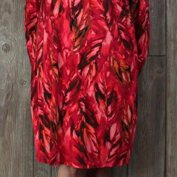 Nice J Jill Wearever XL size Faux Wrap Dress Red Pink Tie Dye Feather Stretch Womens Career Casual